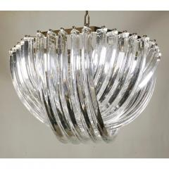 Cosulich Interiors Antiques Contemporary Italian Minimalist Curved Crystal Murano Glass Chrome Chandelier - 901294