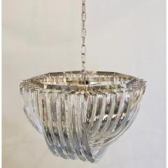 Cosulich Interiors Antiques Contemporary Italian Minimalist Curved Crystal Murano Glass Chrome Chandelier - 901295
