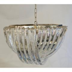 Cosulich Interiors Antiques Contemporary Italian Minimalist Curved Crystal Murano Glass Chrome Chandelier - 901296