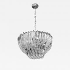 Cosulich Interiors Antiques Contemporary Italian Minimalist Curved Crystal Murano Glass Chrome Chandelier - 902769