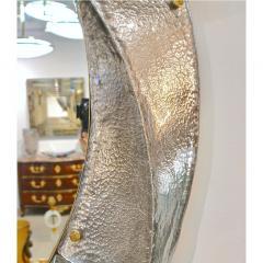 Cosulich Interiors Antiques Contemporary Italian Modern Black Silver Aqua Murano Glass Brass Round Mirror - 852386