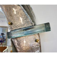 Cosulich Interiors Antiques Contemporary Italian Modern Black Silver Aqua Murano Glass Brass Round Mirror - 852388