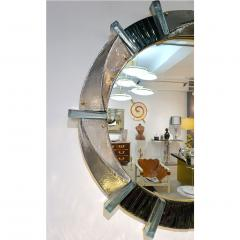 Cosulich Interiors Antiques Contemporary Italian Modern Black Silver Aqua Murano Glass Brass Round Mirror - 852390