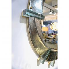 Cosulich Interiors Antiques Contemporary Italian Modern Black Silver Aqua Murano Glass Brass Round Mirror - 852391