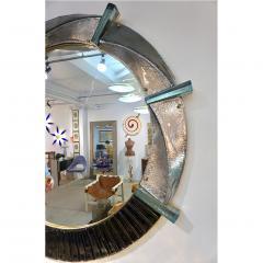 Cosulich Interiors Antiques Contemporary Italian Modern Black Silver Aqua Murano Glass Brass Round Mirror - 852392