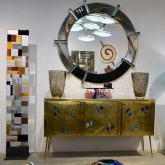 Cosulich Interiors Antiques Contemporary Italian Modern Black Silver Aqua Murano Glass Brass Round Mirror - 852394