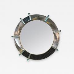 Cosulich Interiors Antiques Contemporary Italian Modern Black Silver Aqua Murano Glass Brass Round Mirror - 853406