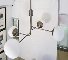 Cosulich Interiors Antiques Contemporary Italian Modern Oil Rubber 4 White Murano Glass Globe Chandelier - 2067896