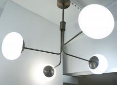 Cosulich Interiors Antiques Contemporary Italian Modern Oil Rubber 4 White Murano Glass Globe Chandelier - 2067898