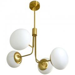 Cosulich Interiors Antiques Contemporary Italian Modern Oil Rubber 4 White Murano Glass Globe Chandelier - 2067901