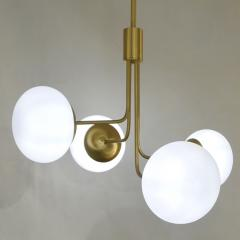 Cosulich Interiors Antiques Contemporary Italian Modern Satin Brass 4 White Murano Glass Globe Chandelier - 848292