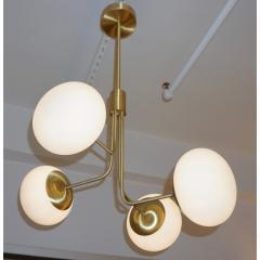 Cosulich Interiors Antiques Contemporary Italian Modern Satin Brass 4 White Murano Glass Globe Chandelier - 848295