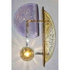 Cosulich Interiors Antiques Contemporary Italian Pair of Amber and Amethyst Murano Glass Gold Brass Sconces - 933654