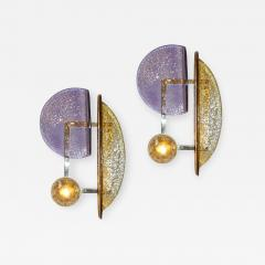 Cosulich Interiors Antiques Contemporary Italian Pair of Amber and Amethyst Murano Glass Gold Brass Sconces - 934170