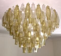 Cosulich Interiors Antiques Contemporary Italian Poliedri Amber and Crystal Clear Murano Glass Chandelier - 695861