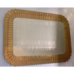 Cosulich Interiors Antiques Contemporary Italian Scalloped Double Frame Silvered Bronze Murano Glass Mirror - 941439