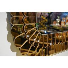 Cosulich Interiors Antiques Contemporary Italian Scalloped Double Frame Silvered Bronze Murano Glass Mirror - 941440