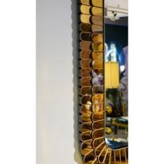Cosulich Interiors Antiques Contemporary Italian Scalloped Double Frame Silvered Bronze Murano Glass Mirror - 941442