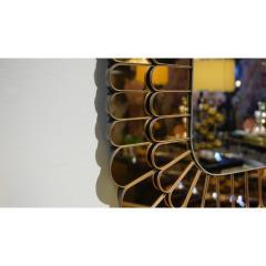 Cosulich Interiors Antiques Contemporary Italian Scalloped Double Frame Silvered Bronze Murano Glass Mirror - 941446