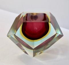 Cosulich Interiors Antiques Italian 1950s Vintage Large Red Yellow Aqua Diamond Cut Modern Bowl Centerpiece - 718743