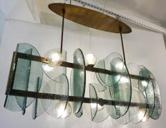 Cosulich Interiors Antiques Italian Modern Fontana Arte Style Aqua Murano Glass Geometric Bronze Chandelier - 2067905
