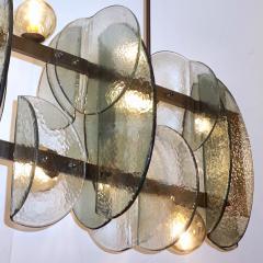 Cosulich Interiors Antiques Italian Modern Fontana Arte Style Aqua Murano Glass Geometric Bronze Chandelier - 2067906