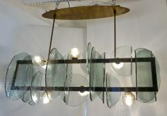 Cosulich Interiors Antiques Italian Modern Fontana Arte Style Aqua Murano Glass Geometric Bronze Chandelier - 2067907