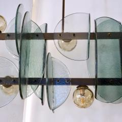 Cosulich Interiors Antiques Italian Modern Fontana Arte Style Aqua Murano Glass Geometric Bronze Chandelier - 2067908