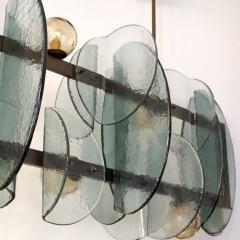 Cosulich Interiors Antiques Italian Modern Fontana Arte Style Aqua Murano Glass Geometric Bronze Chandelier - 2067914
