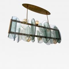 Cosulich Interiors Antiques Italian Modern Fontana Arte Style Aqua Murano Glass Geometric Bronze Chandelier - 2069326