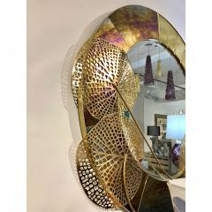 Cosulich Interiors Antiques Italian Organic Brass and Opalescent Murano Glass Modern Sculpture Round Mirror - 652289