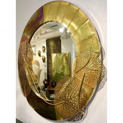 Cosulich Interiors Antiques Italian Organic Brass and Opalescent Murano Glass Modern Sculpture Round Mirror - 652292