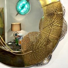 Cosulich Interiors Antiques Italian Organic Brass and Opalescent Murano Glass Modern Sculpture Round Mirror - 652293