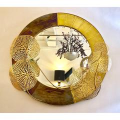 Cosulich Interiors Antiques Italian Organic Brass and Opalescent Murano Glass Modern Sculpture Round Mirror - 652294