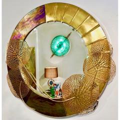 Cosulich Interiors Antiques Italian Organic Brass and Opalescent Murano Glass Modern Sculpture Round Mirror - 652295