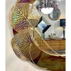 Cosulich Interiors Antiques Italian Organic Brass and Opalescent Murano Glass Modern Sculpture Round Mirror - 652296