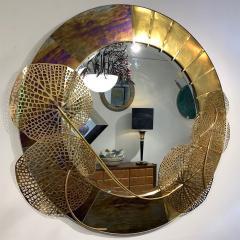 Cosulich Interiors Antiques Italian Organic Brass and Opalescent Murano Glass Modern Sculpture Round Mirror - 652297