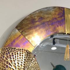 Cosulich Interiors Antiques Italian Organic Brass and Opalescent Murano Glass Modern Sculpture Round Mirror - 652298