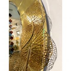 Cosulich Interiors Antiques Italian Organic Brass and Opalescent Murano Glass Modern Sculpture Round Mirror - 652299