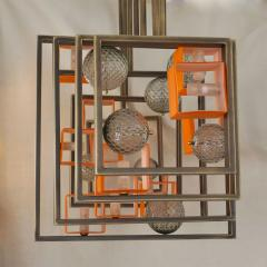 Cosulich Interiors Antiques Minimalist Bronze Brass Cubic Chandelier with Orange White Murano Glass Cubes - 852402