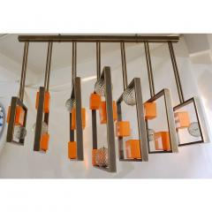 Cosulich Interiors Antiques Minimalist Bronze Brass Cubic Chandelier with Orange White Murano Glass Cubes - 852406