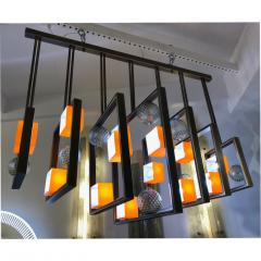 Cosulich Interiors Antiques Minimalist Bronze Brass Cubic Chandelier with Orange White Murano Glass Cubes - 852408