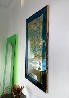 Cristal Art Mirror Blue and Brass by Cristal Art Italy 1960s - 1202787