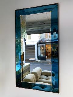 Cristal Art Mirror Blue and Brass by Cristal Art Italy 1960s - 1202788