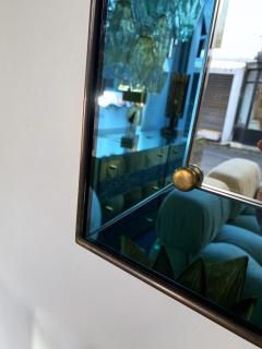 Cristal Art Mirror Blue and Brass by Cristal Art Italy 1960s - 1202790