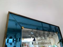 Cristal Art Mirror Blue and Brass by Cristal Art Italy 1960s - 1202791