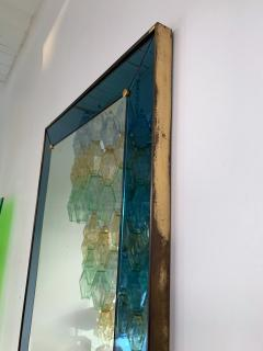 Cristal Art Mirror Blue and Brass by Cristal Art Italy 1960s - 1202795