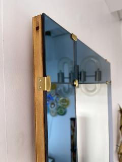 Cristal Art Mirror Blue and Brass by Cristal Art Italy 1960s - 1919074