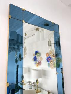 Cristal Art Mirror Blue and Brass by Cristal Art Italy 1960s - 1919075