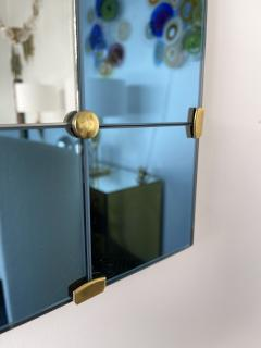 Cristal Art Mirror Blue and Brass by Cristal Art Italy 1960s - 1919076